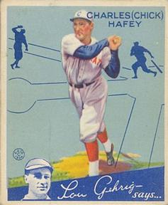 1934 Goudey #34 Chick Hafey Front