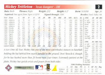 1997 Score #2 Mickey Tettleton Back