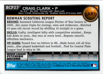 2010 Bowman - Chrome Prospects #BCP27 Craig Clark Back