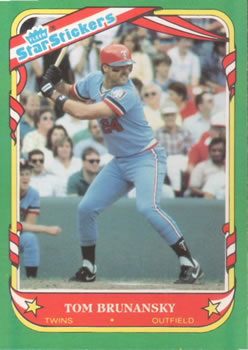 1987 Fleer Star Stickers #17 Tom Brunansky Front