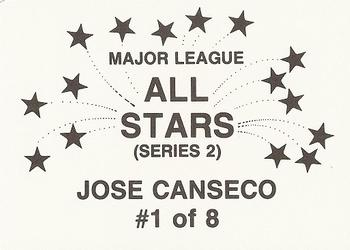 1989 Broder Major League All-Stars Series 2 (unlicensed) #1 Jose Canseco Back
