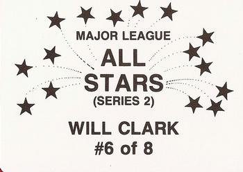 1989 Broder Major League All-Stars Series 2 (unlicensed) #6 Will Clark Back