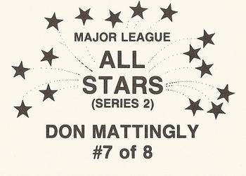 1989 Broder Major League All-Stars Series 2 (unlicensed) #7 Don Mattingly Back