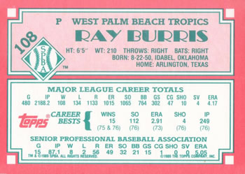 1989 Topps Senior League #108 Ray Burris Back