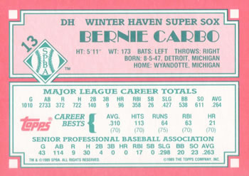 1989 Topps Senior League #13 Bernie Carbo Back