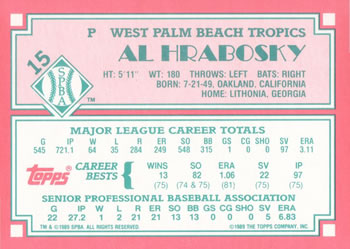 1989 Topps Senior League #15 Al Hrabosky Back