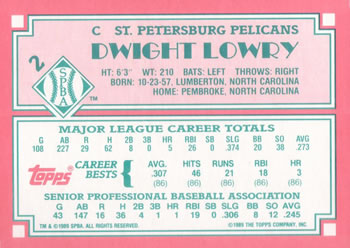 1989 Topps Senior League #2 Dwight Lowry Back