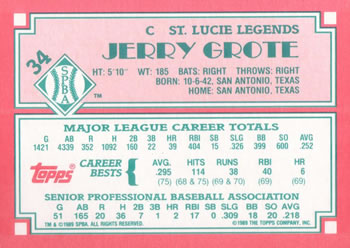 1989 Topps Senior League #34 Jerry Grote Back