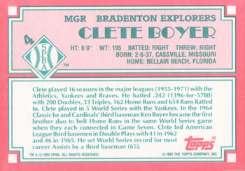 1989 Topps Senior League #4 Clete Boyer Back