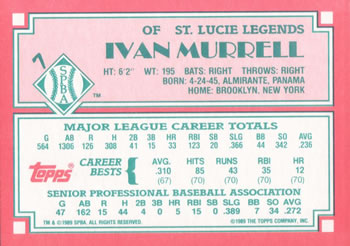 1989 Topps Senior League #7 Ivan Murrell Back