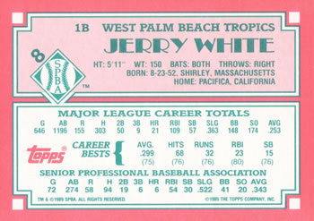 1989 Topps Senior League #8 Jerry White Back