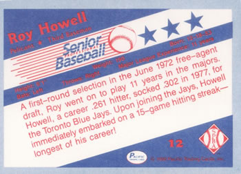 1990 Pacific Senior League #12 Roy Howell Back