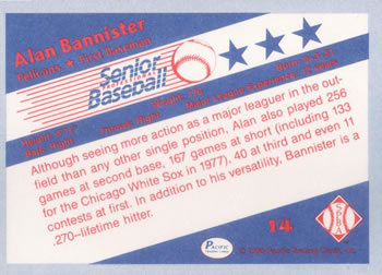 1990 Pacific Senior League #14 Alan Bannister Back