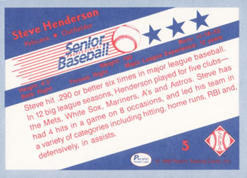 1990 Pacific Senior League #5 Steve Henderson Back