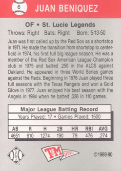 1989-90 T&M Senior League #6 Juan Beniquez Back
