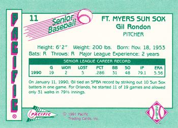 1991 Pacific Senior League #11 Gil Rondon Back