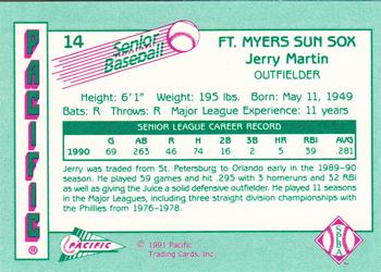 1991 Pacific Senior League #14 Jerry Martin Back