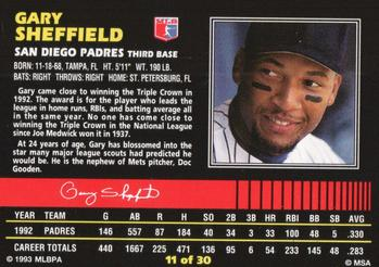 1993 Post Cereal #11 Gary Sheffield Back