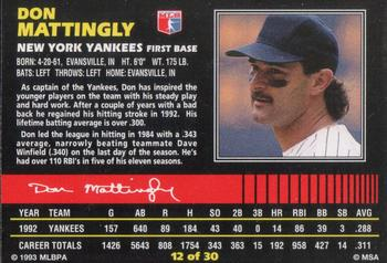 1993 Post Cereal #12 Don Mattingly Back