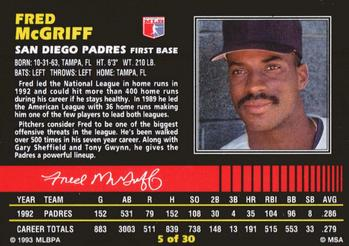 1993 Post Cereal #5 Fred McGriff Back