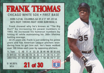 1994 Post Cereal #21 Frank Thomas Back