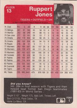1985 Fleer #13 Ruppert Jones Back