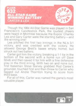 1985 Fleer #632 All-Star Game Winning Battery (Gary Carter / Charlie Lea) Back