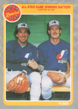 1985 Fleer #632 All-Star Game Winning Battery (Gary Carter / Charlie Lea) Front
