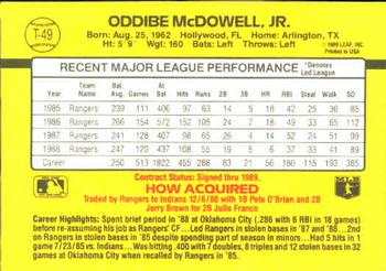 1989 Donruss Traded #T-49 Oddibe McDowell Back