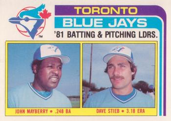 1982 Topps - Team Checklists #606 Blue Jays Team Leaders (John Mayberry / Dave Stieb) Front