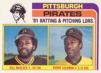 1982 Topps - Team Checklists #696 Pirates Team Leaders (Bill Madlock / Buddy Solomon) Front