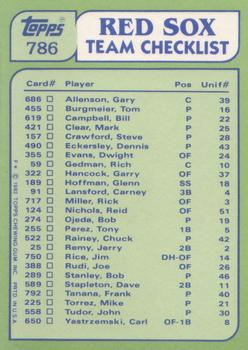 1982 Topps - Team Checklists #786 Red Sox Team Leaders (Carney Lansford / Mike Torrez) Back