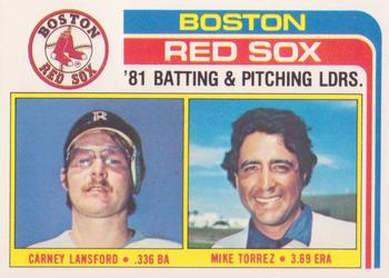 1982 Topps - Team Checklists #786 Red Sox Team Leaders (Carney Lansford / Mike Torrez) Front