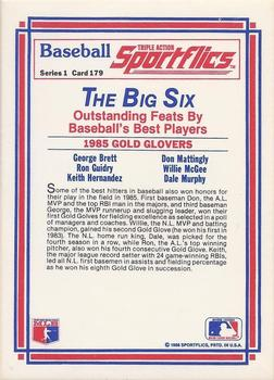 1986 Sportflics #179 Gold Gloves (George Brett, Ron Guidry, Keith Hernandez, Don Mattingly, Willie McGee, Dale Murphy) Back