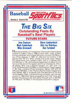 1986 Sportflics #178 Future Stars (Jose Canseco / Mark Funderburk / Mike Greenwell / Steve Lombardozzi / Billy Joe Robidoux / Danny Tartabull) Back