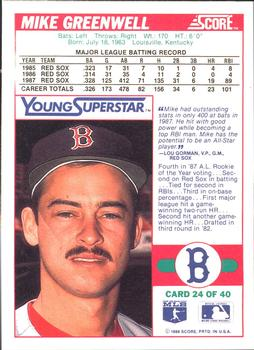 1988 Score - Young Superstars I #24 Mike Greenwell Back