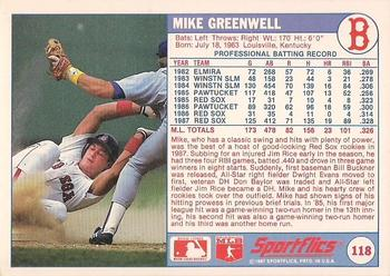 1988 Sportflics #118 Mike Greenwell Back