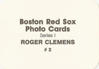 1986 Boston Red Sox Photo Cards Series I & II #2 Roger Clemens Back