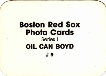 1986 Boston Red Sox Photo Cards Series I & II #9 Oil Can Boyd Back