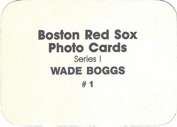 1986 Boston Red Sox Photo Cards Series I & II #1 Wade Boggs Back