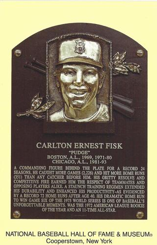 1965-19 Cooperstown Plaque Postcards #NNO Carlton Fisk Front