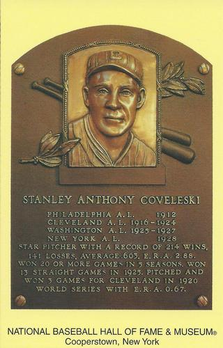 1965-19 Cooperstown Plaque Postcards #NNO Stan Coveleski Front