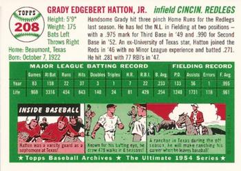 1994 Topps Archives 1954 #208 Grady Hatton  Back