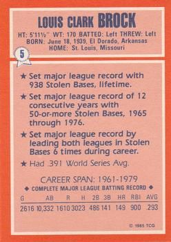 1985 Topps Woolworth All-Time Record Holders #5 Lou Brock Back