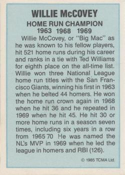 1985 TCMA Home Run Champions #NNO Willie McCovey Back