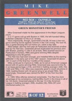 1991 Fleer - Pro-Visions #8 Mike Greenwell Back