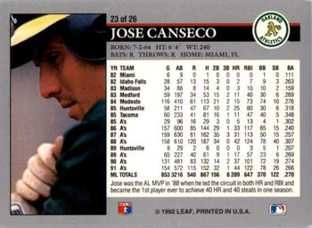 1992 Donruss - Leaf Previews #23 Jose Canseco Back