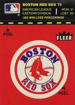 1980 Fleer Team Stickers / World Series #NNO Red Sox Logo on Colored Background Front