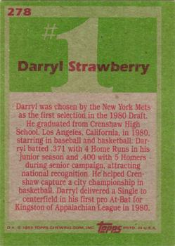 1985 Topps #278 Darryl Strawberry Back