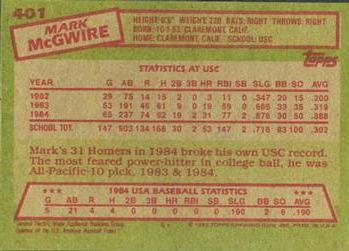 1985 Topps #401 Mark McGwire Back